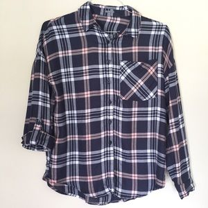 NWT Charlotte Russe Navy & Pink  Flannel Size S